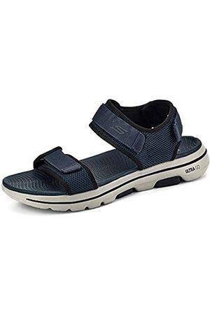 Skechers Men's GO Walk 5 Open Toe Sandals, (Navy Synthetic/ Trim Nvbk)