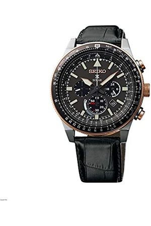 Seiko Mens Chronograph Solar Powered Watch with Leather Strap SSC611P1