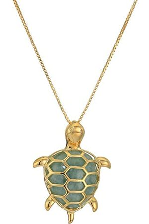 Amazon Collection 18k Gold Plated Sterling Silver Genuine Green Jade Turtle Pendant Necklace