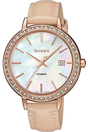 Casio Womens Analogue Quartz Watch with Leather Strap SHE-4052PGL-7BUEF