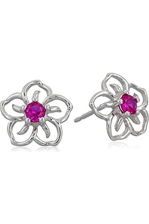 Amazon Collection Sterling Silver Created Ruby Flower Stud Earrings