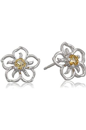 Amazon Collection Sterling Silver Genuine Citrine Flower Stud Earrings