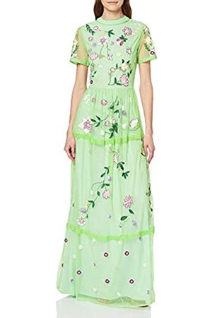 Frock and Frill Women's Ingrid High Neck Short Sleeve Embroidered Maxi Dress Party