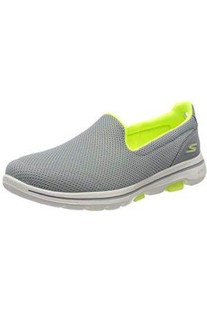 Skechers Women's GO Walk 5 Trainers, (Gray Textile/Lime Trim Gylm)