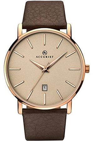 Accurist Mens Analogue Classic Quartz Watch with Leather Strap 7166.01