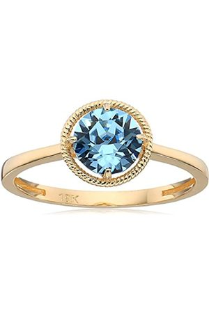 Amazon Collection 10k Gold Swarovski Crystal March Birthstone Ring