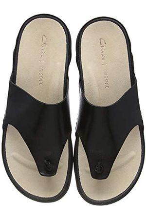 Clarks Women's Tri Toe Post Flip Flops, ( Leather Leather)