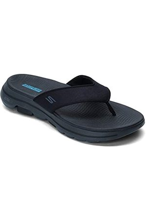 Skechers Men's GO Walk 5 Flip Flops, ( Synthetic/Gray Trim Bkgy)