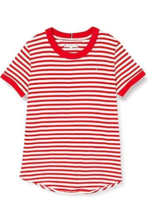 Tommy Hilfiger Girl's Essential Stripe TOP S/S T - Shirt, ( /Deep Crimson 0FA)