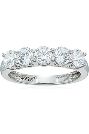 Amazon Collection Platinum-Plated Sterling Silver Swarovski Zirconia Round-Cut 5 Stone Ring (1.25 cttw)