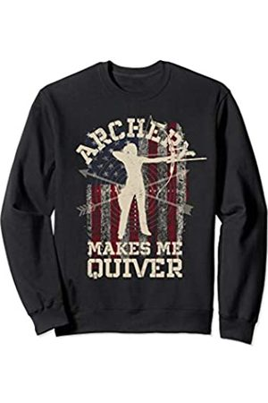 Funny Archery Shirts Co. Archery Makes Me Quiver Bow Arrow Women Archer American Flag Sweatshirt