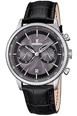 Festina RETRO Men's Quartz Watch with Grey Dial Chronograph Display and Leather Strap F16893/5