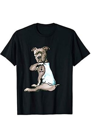 Funny Dog Pitbull I Love Mom Tattoo Tee Gift Funny Women Gifts Dog Pitbull I Love Mom Tattoo Gift T-Shirt