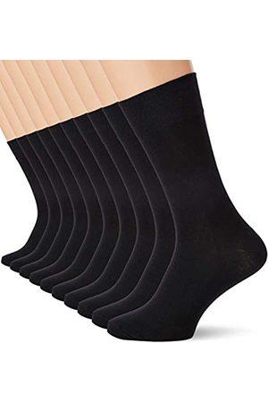 HIKARO Amazon Brand - Men's Cotton Knee-High Socks, Pack of 10, Multicolour (Gingham / Gingham Red), 12-15 UK