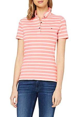 Tommy Hilfiger Women's Maya Slim Frill Polo SS Shirt, (Breton STP/ Gr. -Pale 0D9)