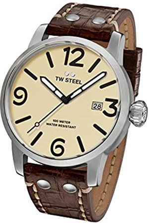 TW steel Maverick Unisex Quartz Watch with Beige Dial Analogue Display and Brown Leather Strap MS21