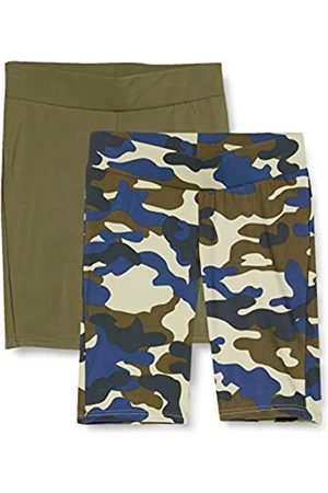 Urban classics Women's Radler-Hose Ladies High Waist Tech Cycle Shorts Leggings 2-Pack Yoga, Summerolive Camo/Summer Olive