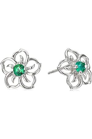 Amazon Collection Sterling Silver Created Emerald Flower Stud Earrings