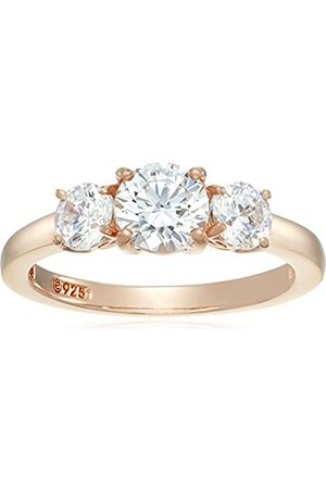 Amazon Collection Rose- -Plated Sterling Round 3-Stone Ring made with Swarovski Zirconia (2 cttw)