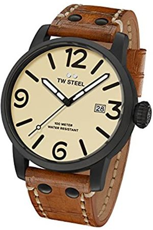 TW steel Maverick Unisex Quartz Watch with Beige Dial Analogue Display and Brown Leather Strap MS41