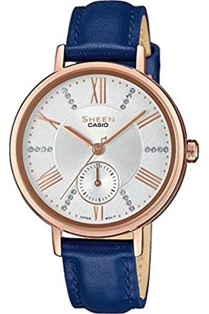 Casio Womens Analogue Quartz Watch with Leather Strap SHE-3066PGL-7AUEF