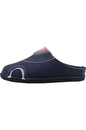 Haflinger Unisex Adults' Flair Baikal Open Back Slippers, (Mittelblau 70)