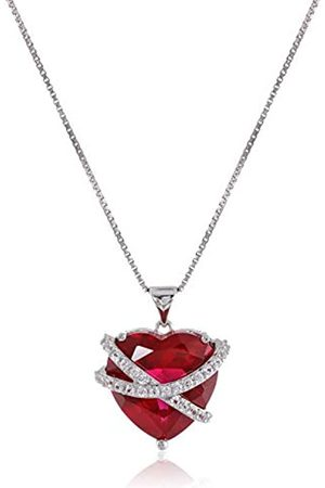 Amazon Collection Sterling Silver Created Ruby and Created Sapphire Wrapped Heart Pendant Necklace
