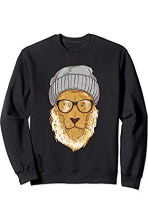 Urban Lifestyle Shirts & Gifts Hipster Lion Shirt - Beanie & Hip Glasses Cool Fashion Sweatshirt