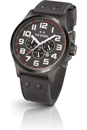 TW steel Pilot Unisex Quartz Watch with Dial Chronograph Display and Leather Strap TW423