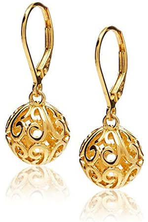 Amazon Collection 18k Gold Plated Sterling Silver Filigree Ball Leverback Dangle Earrings