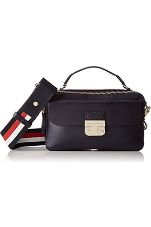 Tommy Hilfiger Womens Fashion Hardware Leather Mini X Over Canvas and Beach Tote Bag (Tommy Navy)