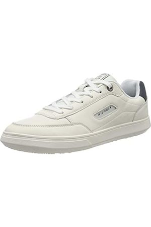 Tommy Hilfiger Men's Essential Court Leather Sneaker Low-Top, (Ivory Ybi)