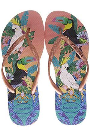 Havaianas Women's Slim Tropical Flip Flops, (Silk Rose 0082)