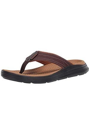 Skechers Men's Sargo REYON Flip Flops, (Chocolate Canvas Chocolate)