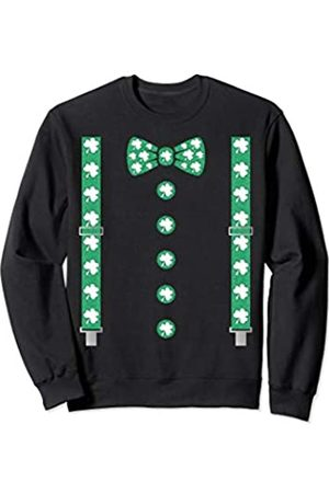St Patrick Braces -St Patrick's Day Irish bow Tie Shamrock Braces with Irish bow Tie St Patrick's Day Gift Sweatshirt