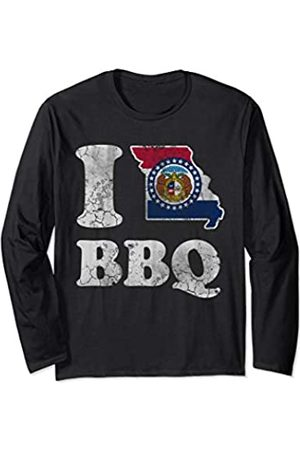 Tee Styley Vintage Fade Missouri Flag BBQ Barbecue Men Women Long Sleeve T-Shirt