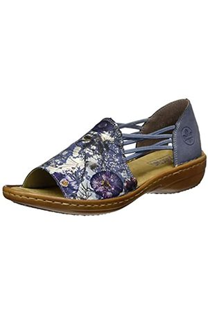 Rieker Women's Frühjahr/Sommer Closed Toe Sandals, (Jeansmulti/Jeans 91)