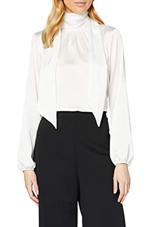 Dorothy Perkins Women's Ivory Tie Neck Long Sleeve Satin Top Blouse