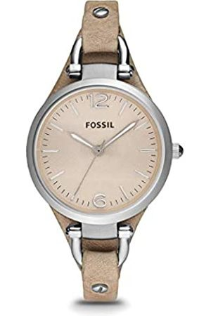 Fossil Georgia Bone Leather Watch / Analogue Women's Wrist Watch with Thin Vintage Leather Band and Waterproof Silver Case in Gift Box - Boyfriend Design with Dial