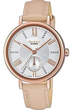 Casio Womens Analogue Quartz Watch with Leather Strap SHE-3066PGL-7BUEF