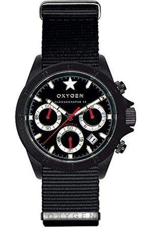 Oxygen Chrono Record 42 Mens Quartz Watch with Dial Chronograph Display and Nylon Strap EX-C-REC-42-NN-BL