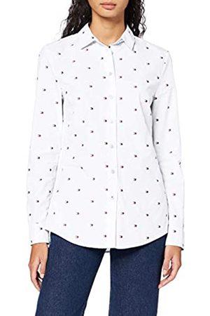 Tommy Hilfiger Women's Felicia Shirt LS W2 Jumper, (Mini Flag All Over Embr/ 0La)