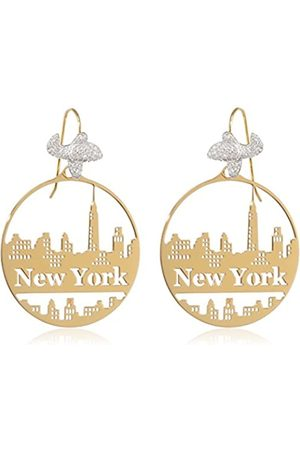 MISIS Women's Pull Through Earrings-City Hall 925 Silver Rose Plated Cubic Zirconia-Or08447 5 CM White