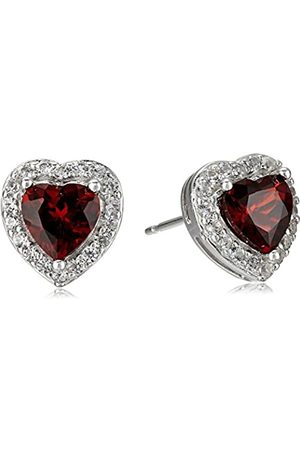 Amazon Collection Sterling Silver Genuine Garnet and Created White Sapphire Halo Heart Stud Earrings