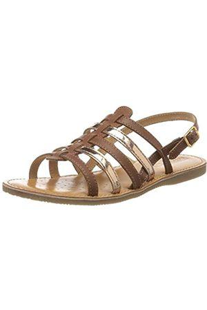 Geox Girls' J Sandal Eolie Open Toe, (Cognac/Dk Bronze C6n6q)