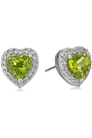 Amazon Collection Sterling Silver Genuine Peridot and Created White Sapphire Halo Heart Stud Earrings