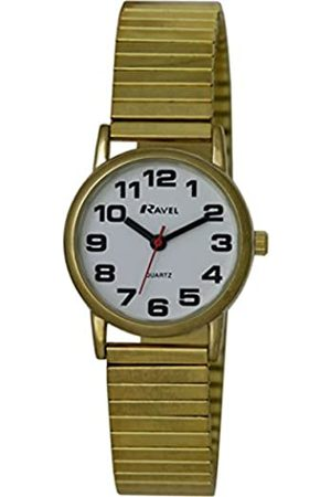 Ravel Easy Read Watch on Expandable Women's Quartz Watch with Dial Analogue Display and Stainless Steel Plated Bracelet R0208012S