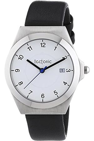 Tectonic Men's Gallant Quartz Watch with Dial and Silver Leather Strap 41-6103-14