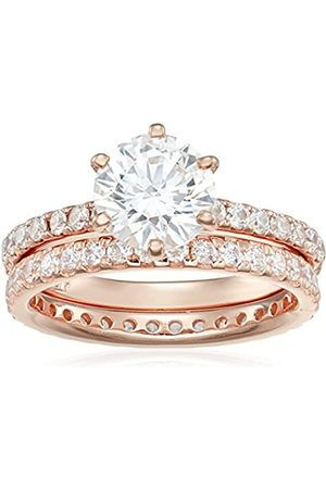 Amazon Collection Rose- Plated Sterling Round Ring Set made with Swarovski Zirconia (1 Carat Center Stone)