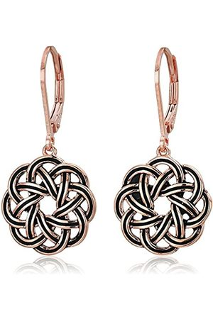 Amazon Collection 14k Rose Gold Plated Sterling Silver Celtic Knot Leverback Dangle Earrings